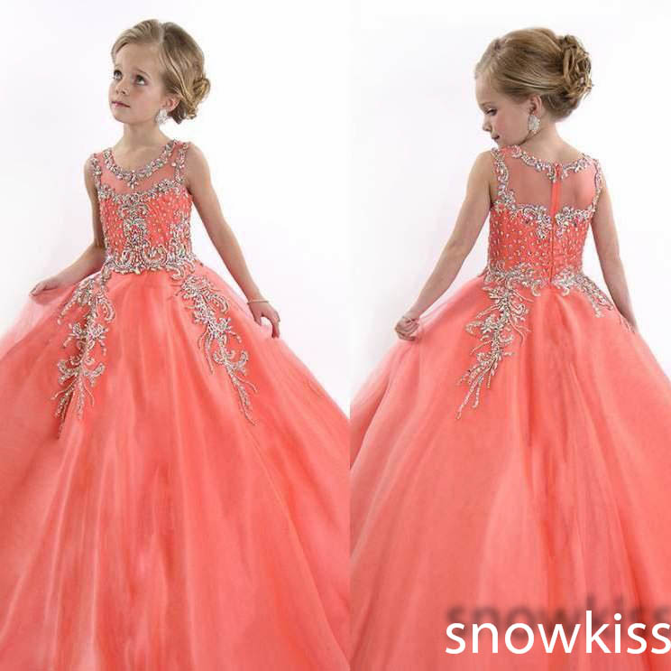 Coral Crystals Beads Ball Gowns sparkly Pageant Dress for little girl glitz kids evening prom party frocks for special occasion new white and blue lace flower girl dresses birthday party pageant prom glitz frocks first communion ball gowns for juniors