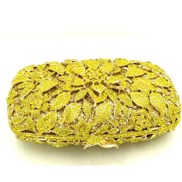 Soirée Color Fleur Marque Designer Pictur À Partie Same Sacs Embrayage Strass Xiyuan Diamant D'embrayage Luxe Mariage De Main Cristal Sac As Jaune qacfUw