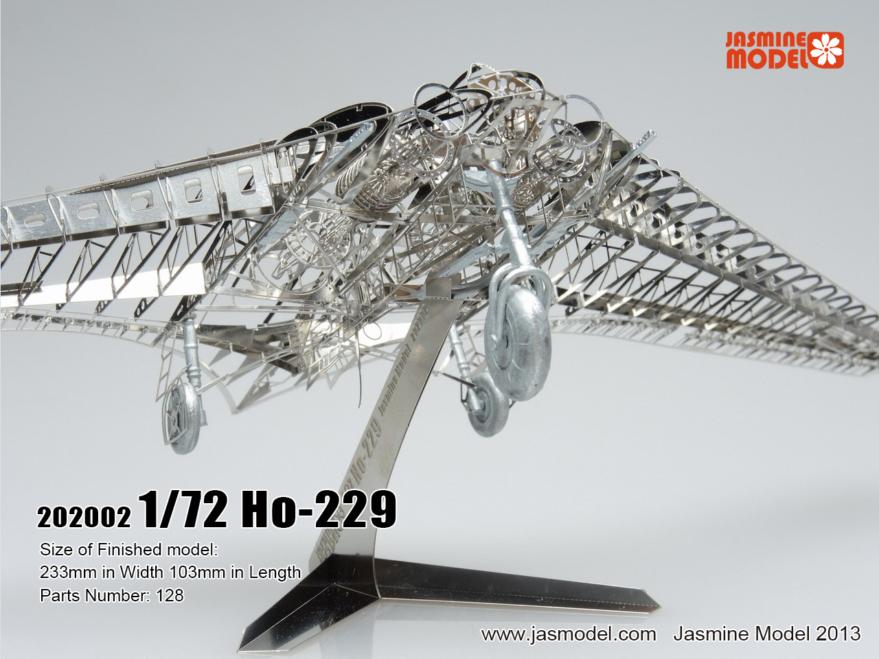 JasmineModel 1/72 Imperial aircraft Horton, Germany Gotha Go Ho-229 3D Metal skeleton model Assembled puzzle Very difficult 1 400 jinair 777 200er hogan korea kim aircraft model