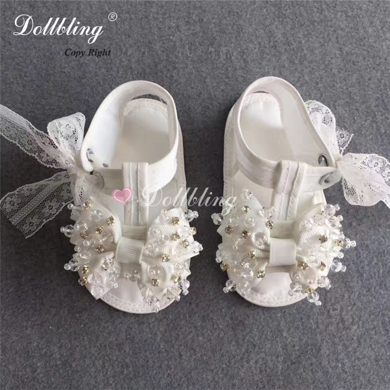 Vitage Palace White Christening Baby Summer shoes Lace Pearls Sewing Infant Baptism Bella Bride Shoes Handmade Ruffle Shoes christening pearls baby shoes bling pacifier set pearls baby accessories custom for buyer handmade custom princess keepsake