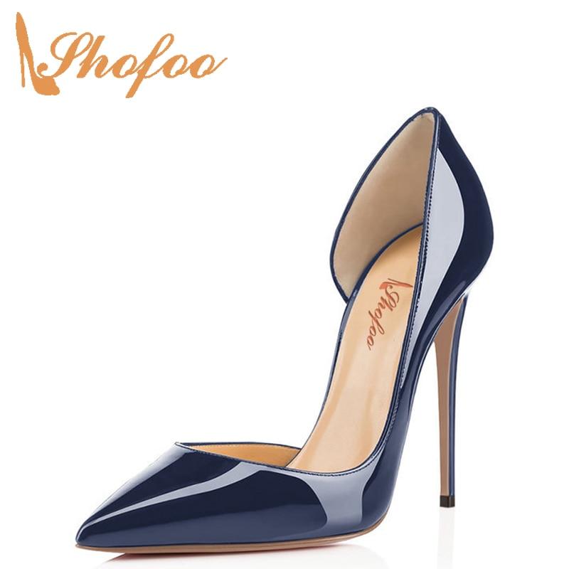 Shofoo romconnaitre miroir femmes escarpins en cuir verni bout pointu 12 cm talons hauts mariage soirée femme chaussures grande taille 4-16