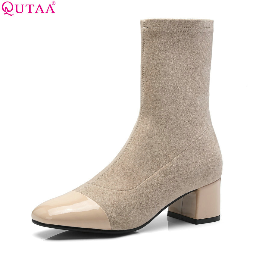 QUTAA 2019 Women Mid Calf Boots Women Shoes Platform Square High Heel Winter Keep Warm Shoes Women Motorcycle Boots Size 34-39 qutaa national style winter women shoes genuine leather flat heel mid calf boot zipper women motorcycle snow boots size 34 40