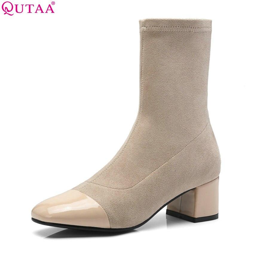 88ff7103d1951 Invierno 39 Mediados Apricot Botas Zapatos Plataforma Mujer Qutaa Caliente  Mantener Mujeres De negro Becerro jiaotangse Alto 2019 ...