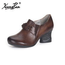Xiangban Genuine Leather Handmade High Heels Women Shoes Thick Heel Vintage Deep Mouth Pumps Shoes