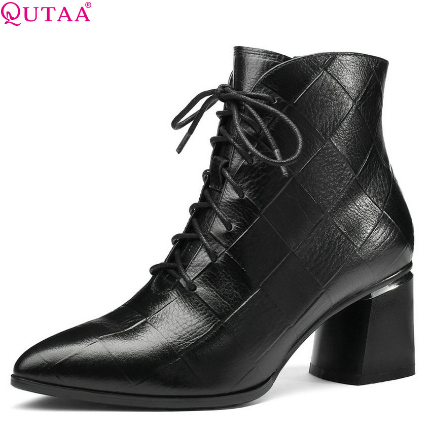 QUTAA 2019 New Fashion Women Ankle Boots Cow Leather+pu Square High Heel Pointed Toe Solid Ladies Motorcycle Boots Size 34-42 qutaa 2018 black women ankle boots square high heel pointed toe genuine leather fashion zipper women motorcycle boots size 34 42