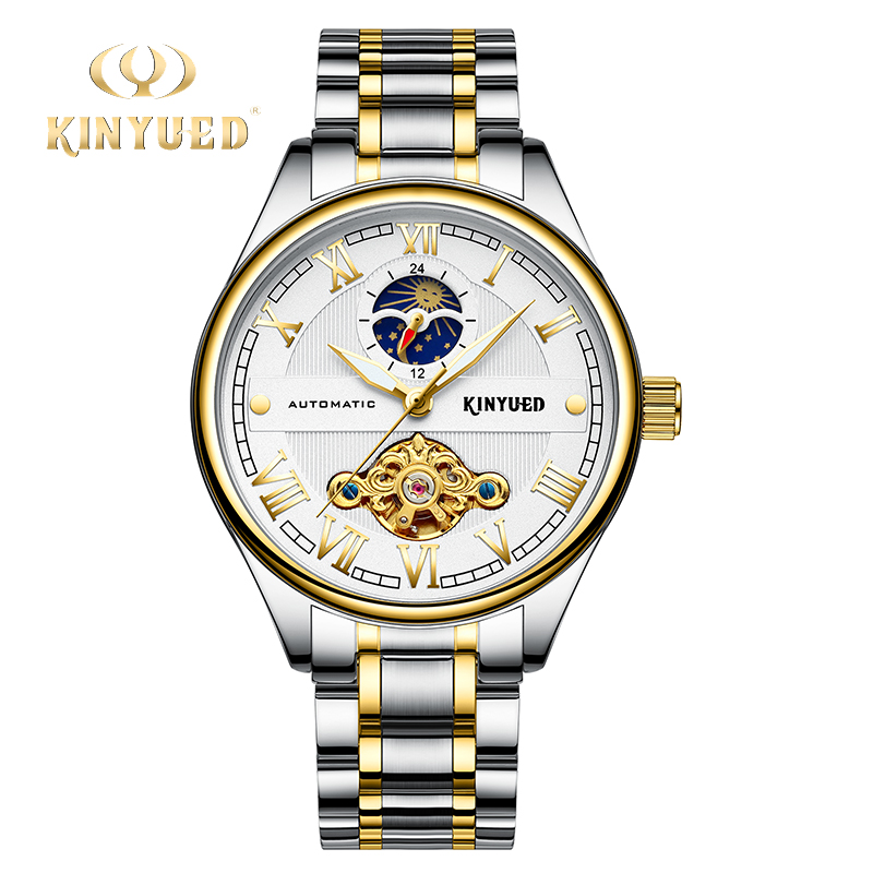 цена KINYUED Dress Tourbillon Watch Men Automatic Mechanical Skeleton Wrist Watches Gold Business Luxury Moon Phase horloges mannen онлайн в 2017 году