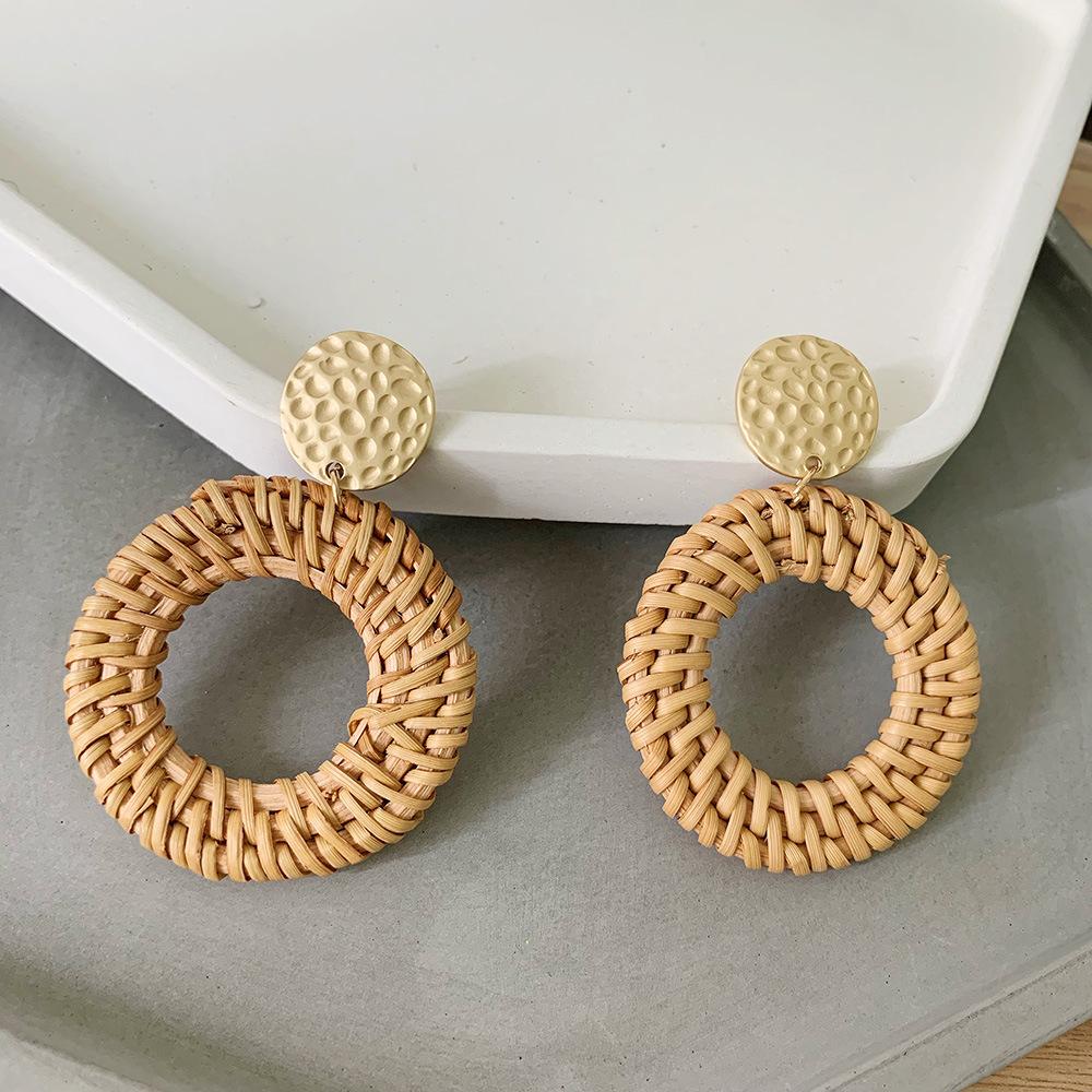 Bohemian Wicker Rattan Knit Pendant Earrings Handmade Wood Vine Weave Geometry Round Statement Long Earrings for Women Jewelry 5