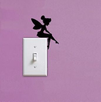 small home light switch decor vinyl sticker, funny fairy wall decal for kids bedroom decor