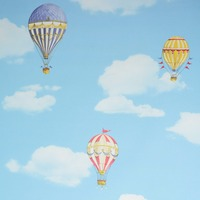 Kids Room 3D Wallpaper PVC Boy Girl Warm Sleep Cute Cartoon Wall Murals Hot Air Balloon