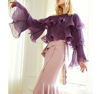 2018 new spring/summer fashion flare sleeve skew collar white blouse chic women black and purple