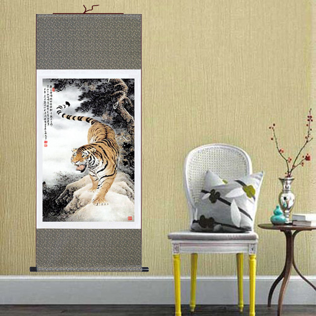 Online Shop Hot Sale Large Wall Picture Tiger Chinese Painting Silk ...