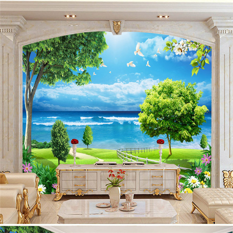 3D Custom Photo Wallpapers Nature Scenery Murals for Living Room Walls Home Decor Seaside Landscape Wall Papers with Tree Flower custom photo size wallpapers 3d murals for living room tv home decor walls papers nature landscape painting non woven wallpapers
