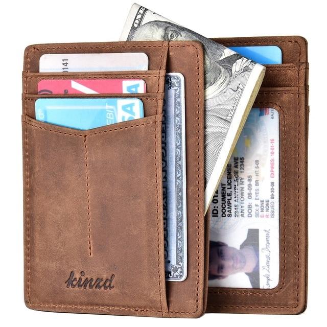 70e21dcbf3 Crazy Horse Leather Slim Wallet With Magnets RFID Front Pocket Wallet  Minimalist Secure Credit Card Holder RFID Blocking Wallet