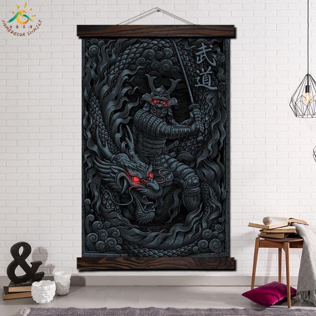 Samurai und Drachen Moderne Wand Kunst Druck Pop Kunst Bild Und Poster Massivholz Hängen Blättern Leinwand Malerei Home Decor kunstwerk