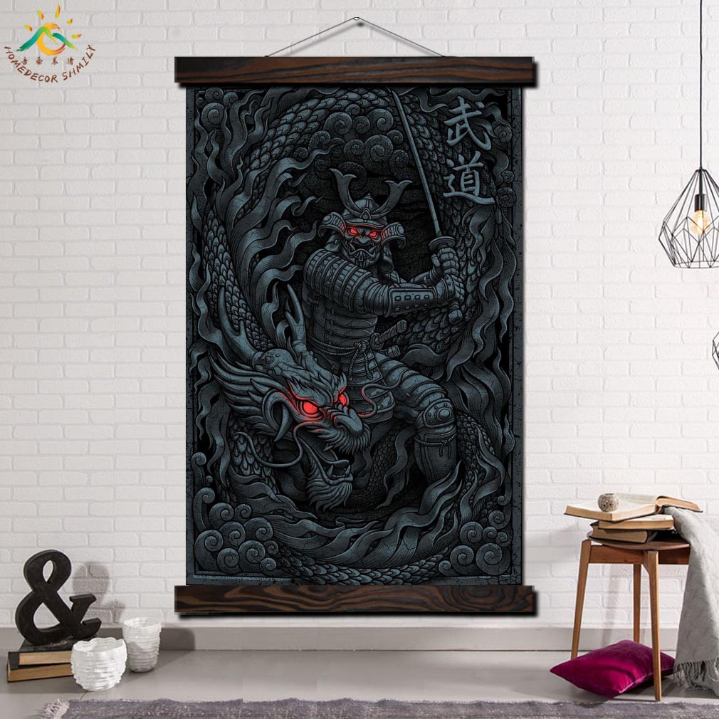 Modern Wall Art Print  Art Picture And Poster Wood Frame Scroll Canvas Painting Home Decor Artwork Samurai and Dragon