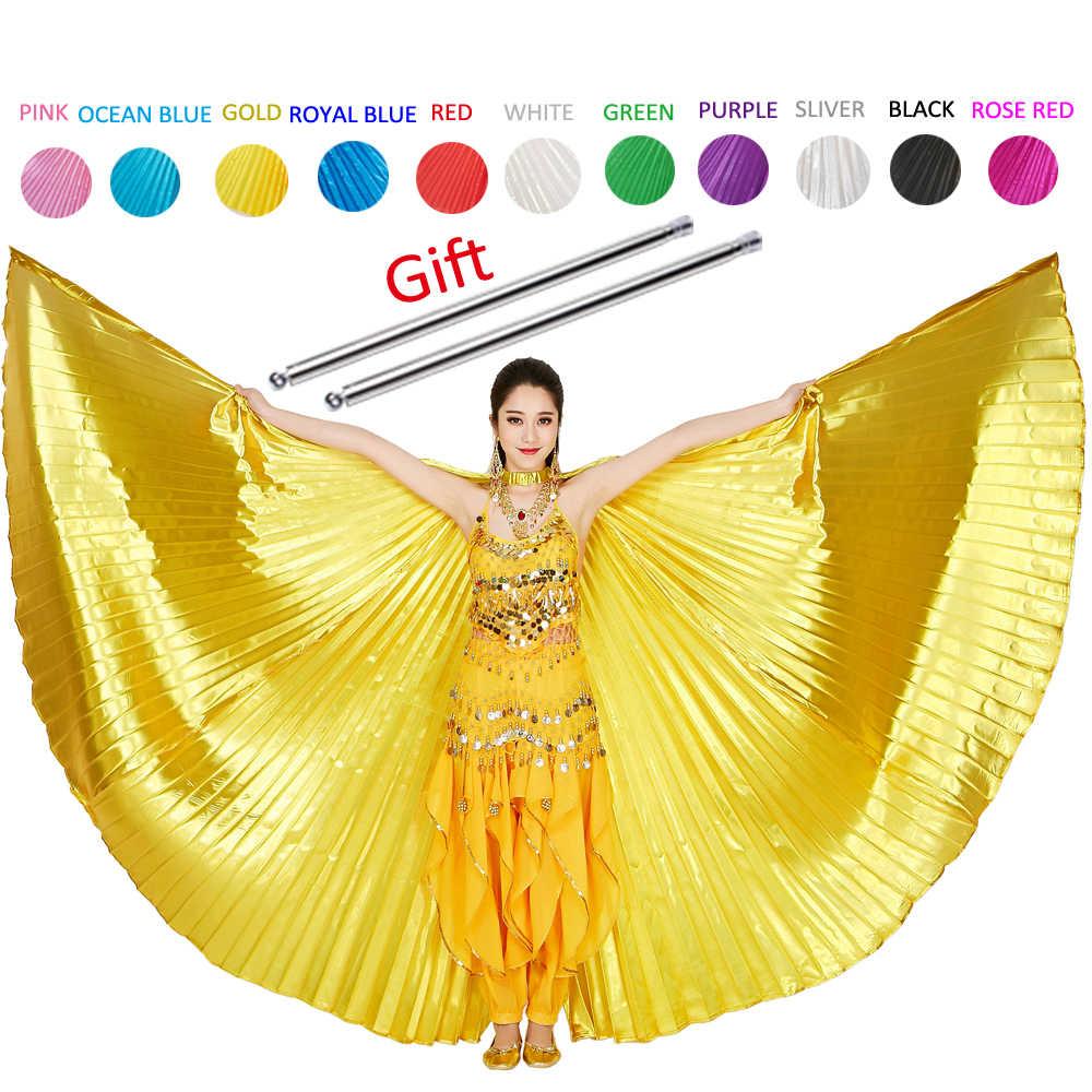 2019 בטן איזיס בטן ריקוד אבזר בוליווד מזרחי מצרים מצרית כנפי תלבושות עם מקלות למבוגרים נשים זהב