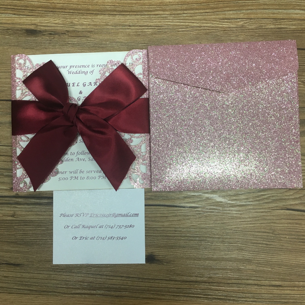 Wedding Invitation Card Paper: Hot Sell Glitter Pink Paper Wedding Invitation Card