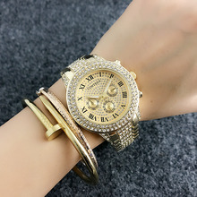 2017 Nueva Marca de Moda de Lujo Relojes Mujer Vestido Rosy Oro Relojios Mujer Analógico Rhinestone Relojes de pulsera de Cuarzo Diamante de las Señoras