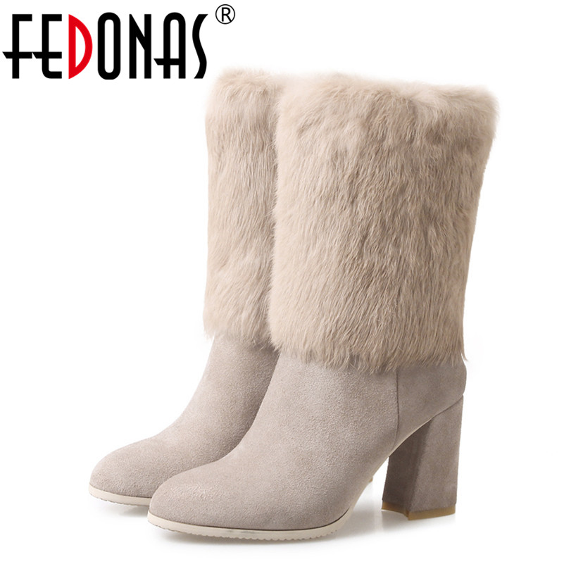 FEDONAS New Women Genuine leather Rabbit Fur Mid-calf Warm Winter Snow Boots Women Thick High Heeled Comfort Boots Shoes Woman double buckle cross straps mid calf boots