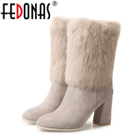 FEDONAS New Women Genuine Leather Rabbit Fur Mid Calf Warm Winter Snow Boots Women Thick High