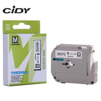 CIDY Mk Tape MK221 MK 221 M-K221 9mm Black on White for PT-65 PT-70 PT-80 PT-85 PT-90 PT-M95 PT-100 PT-110 PT-45M Label Printer фото