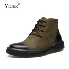 Купить с кэшбэком YIGER New Men boots Martins genuine Leather man Ankle Boots cowboy boots male desert bot big size 38-48 Lace-up casual shoes 174