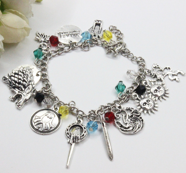 10pcs Lot Of Thrones Charm Bracelet Winter Is Coming Wolf Head Cool Gift For