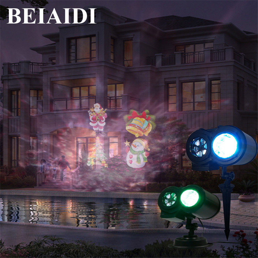 BEIAIDI Double Head Water Ripple Effect Stage Light With 12 Slides Laser Projector Light Outdoor Christmas Halloween Projector