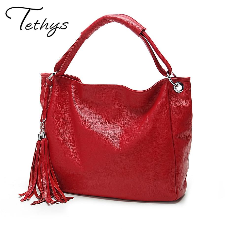 TETHYS 2017 New Leather Bag Women Handbags Tassel Female Bag Crossbody Women's S