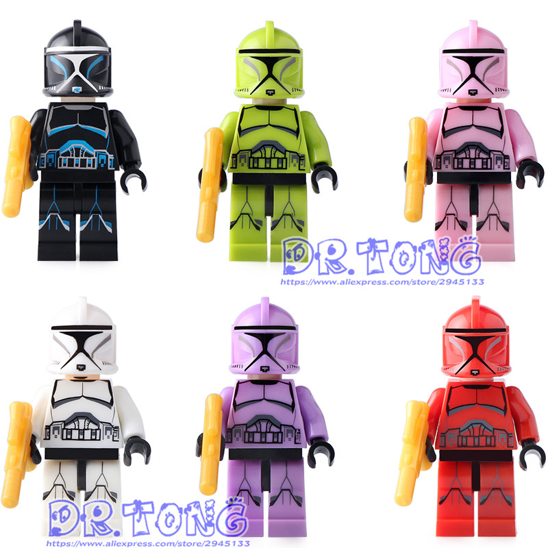 DR.TONG Single Sale STAR WARS Blocks Star Wars Clone Trooper Figure with Weapons Building Blocks Bricks Toys ksz star wars minifig darth vader white storm trooper general grievous figure toys building blocks