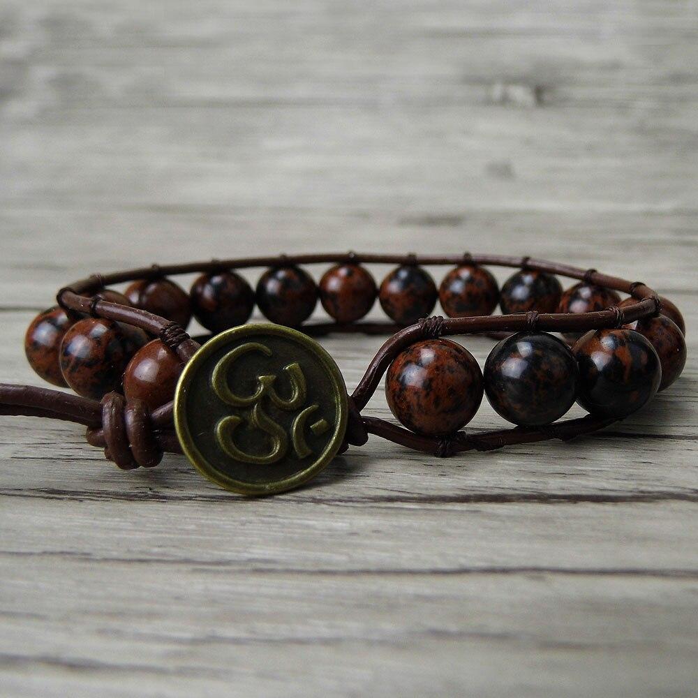 Leather wraps beaded bracelet mahagony beads bracelet single beaded wrap bracelet beaded jewelry yoga dropshipping
