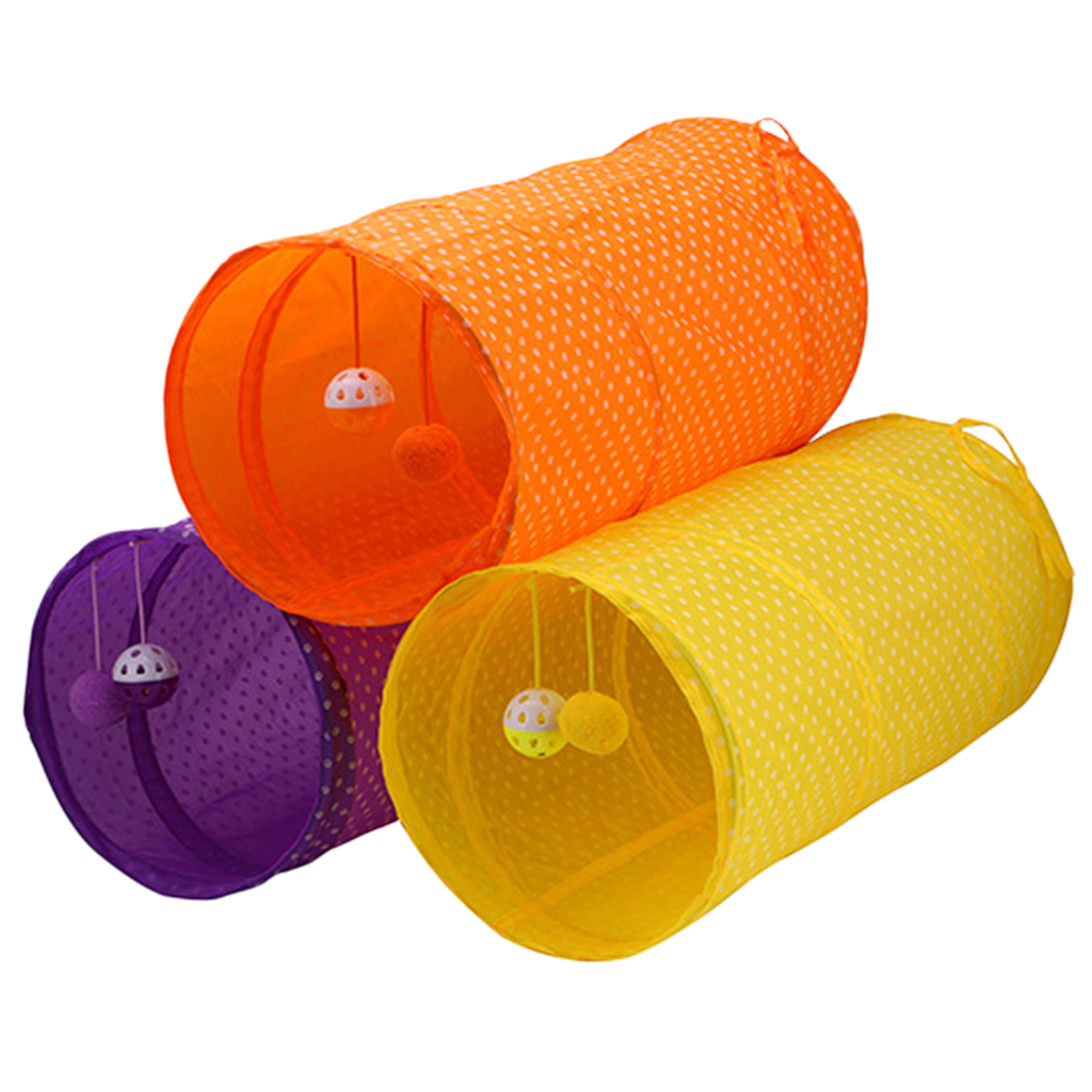 Good Polka Dot Pet Cat Tunnel Funny Cat Long Tunnel Kitten Play Toy Collapsible Bulk Cat Toys Rabbit Play Tunnel