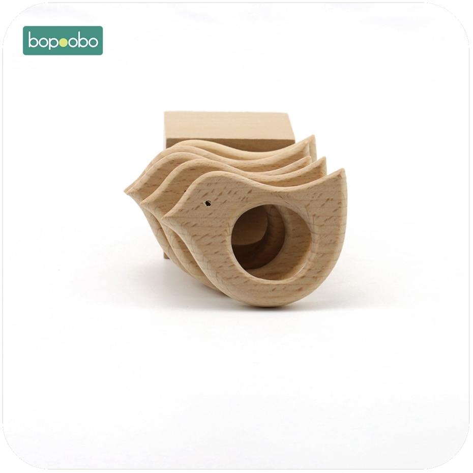 Bopoobo Wooden Bird Baby Teether 1pc Chew Beech Wooden DIY Jewelry Teething Accessories Nursing Bracelet Baby Teether