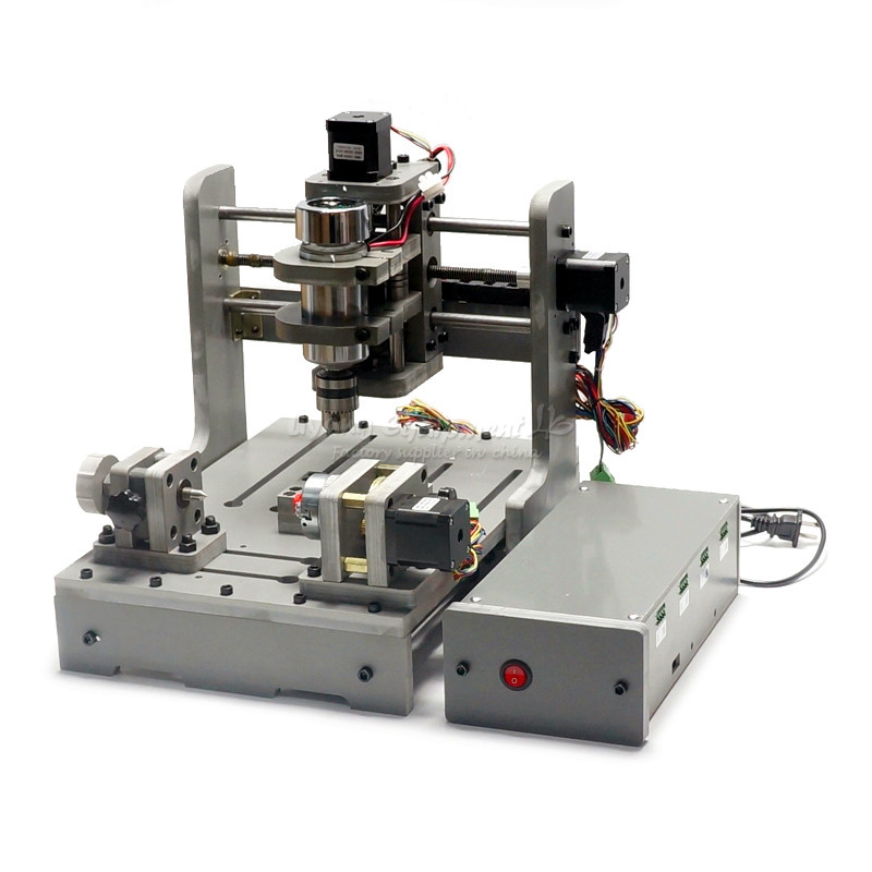 DIY Mini 4axis CNC machine Drilling and Milling Machine 300w wood router