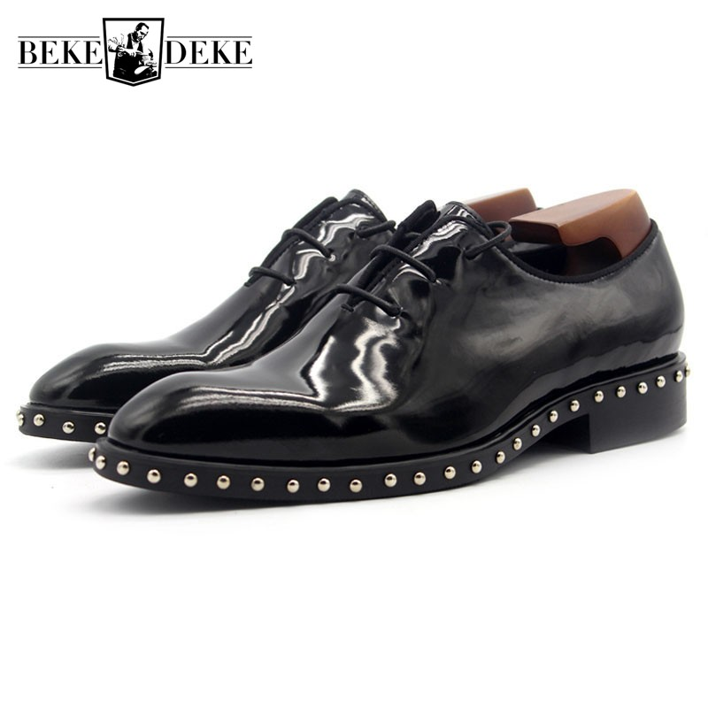 Office Work Mens Nature Leather Formal Shoes Rivet Beading Lace Up Oxfords Patent Leather Male Wedding Party Dress Shoes Black men business dress shoes fashion lace up flats genuine leather formal office loafers party wedding oxfords shoes male walkerpeak