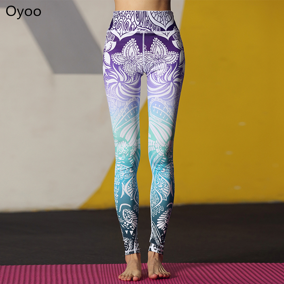 Oyoo Stunning Beautiful Yoga Pants High Waist Floral Printed Leggings Purple Blue Ombre Women's Tracksuit Running Fitness Pants active random floral print high waisted tracksuit in pink