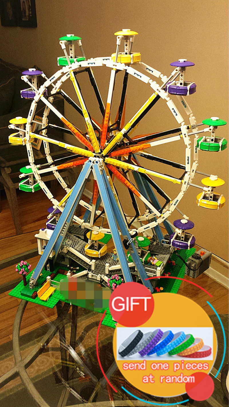 Фотография 15012 2478Pcs City Series Expert Ferris Wheel Model Building Kits Assembling Blocks Children Toys Compatible with 10247 lepin
