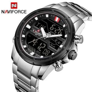 Image 1 - NAVIFORCE luksusowe mężczyźni analogowy zegarek kwarcowy Sport moda wojskowy odkryty wodoodporny Chrono EL podświetlenie cyfrowe zegarki na rękę 9138