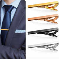 New Simple Metal Silver Tie Clip for Men Wedding Necktie Tie Clasp Clip Gentleman Tie Bar Crystal Tie Pin for Mens Gift