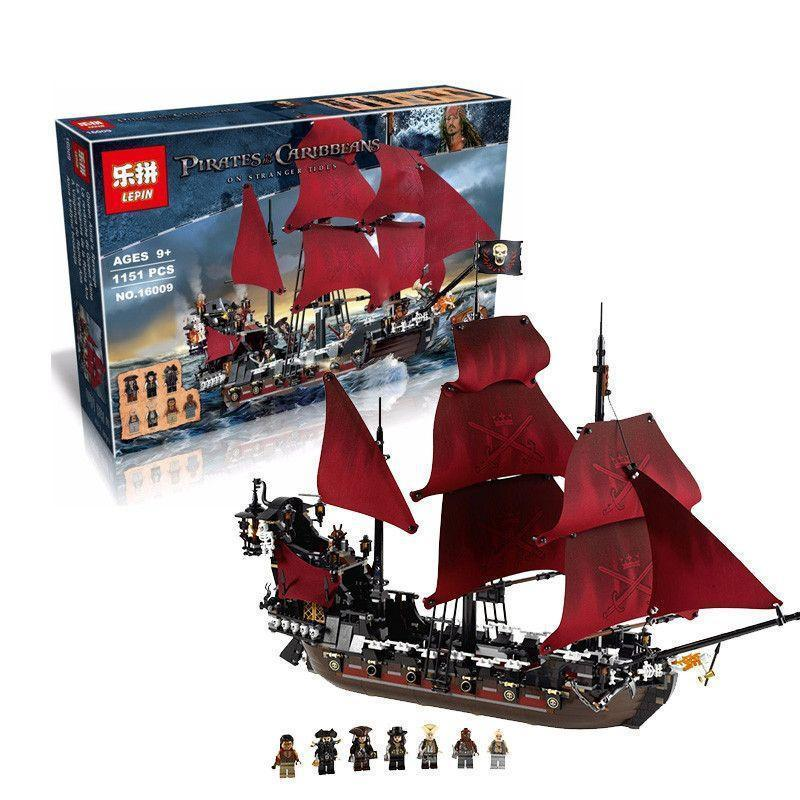 LEPIN 16006 16009 16018 Queen Anne's Revenge Pirates of Caribbean Building Block Compatible With lego 4195 Educational Toys lepin 16009 caribbean blackbeard queen anne s revenge mini bricks set sale pirates of the building blocks toys for kids gift