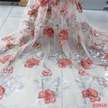 Французская кружевная ткань последняя Красная Вышивка Стразы Кружева Африканский французский Тюль кружевная ткань для вечерние платья HX2059