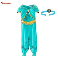 Kids Jasmine Costume Halloween Christmas Party Cosplay Girls Princess Children Belly Dance Dress Indian