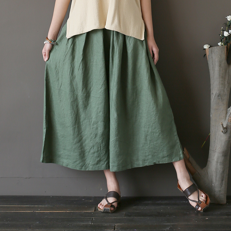 Elastic waist Linen Women Wide leg Pants Capri Solid Blue Black Army green Summer Casual Pants Skirt Cute Wide leg Trousers A180
