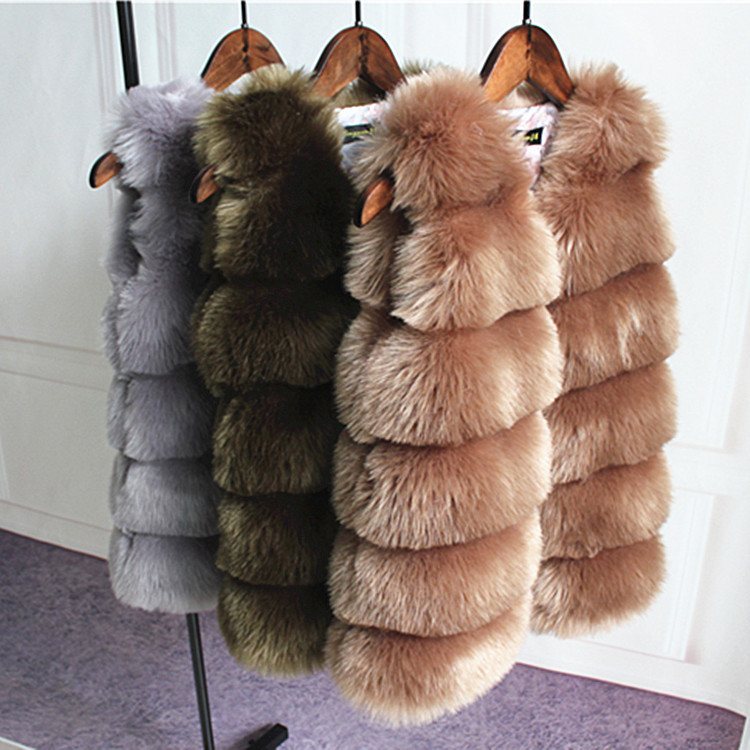 N011 New Fashion Girl Autumn &Winter Super Soft Faux Fox Fur Coats Warm Coat Fur Vest
