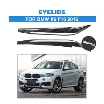 2PCS/set Carbon Fiber Front Headlight Eyebrows Eyelids For BMW X6 F16 2016 Car Headlamp Sticker Trims Covers