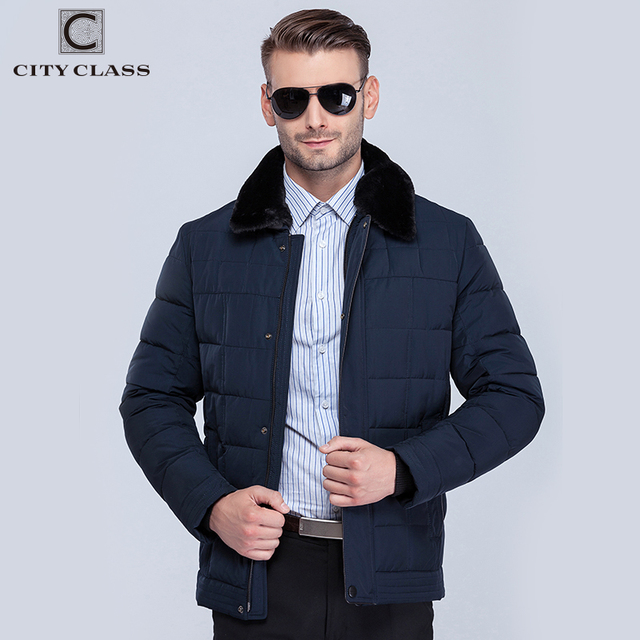 City Class классический новых мужский зимний теплая куртки био-пух пуховик и тощие пальто исскуственная кролика воротник пух-хлопка куртки пирот 15371