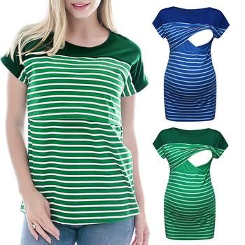 a4f04dd5d Las mujeres de manga corta raya embarazo bebé enfermería Tops camiseta para  la alimentación ropa lactancia camiseta embarazada