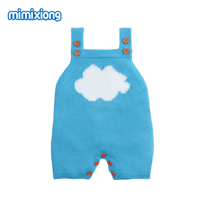 Summer Overalls For Children Sleeveless Jumpsuits Cartoon Cloud Knitted Newborn Baby Girl Rompers Summer Infant Boy Sunsuit Tops