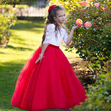 Red White Princess Flower Girls Dresses Bateau Neck Half Sleeves Lace Tulle Floor Length Children Wedding Holiday Party Dresses