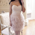 fashion luxury short prom dress 2017 Feathers pearls beaded sweetheart women coctel dresses for formal party robe de soiree